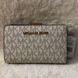 Michael Kors small white/brown logo bifold wallet